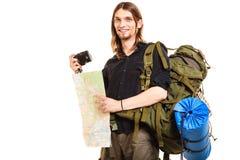 Randonneur de touristes d'homme prenant la photo avec l'appareil-photo Images stock