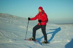 Randonneur en montagnes d'hiver snowshoeing Photographie stock