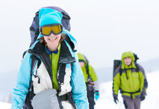 Randonneur en montagnes de l'hiver Photos libres de droits