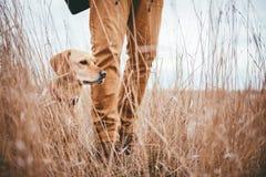 Randonneur et chien dans la prairie Image stock