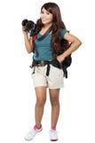 Randonneur féminin partant en vacances avec le sac à dos et l'appareil-photo Images libres de droits
