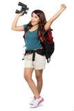 Randonneur féminin partant en vacances avec le sac à dos et l'appareil-photo Photos stock