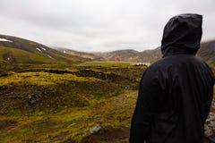 Randonneur féminin se tenant sur la roche tout en appréciant la nature chez l'Islande Images libres de droits