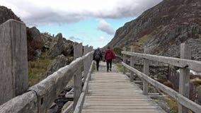 Randonneur marchant au-dessus du pont en bois à la cascade clips vidéos