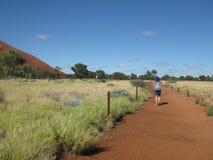 Randonneur marchant la voie de 10km, traînée basse de promenade d'Uluru image stock