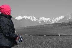 Randonneur par le lac, Leh Ladakh, Inde Image stock