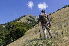 Randonneur sur la montagne Photos libres de droits