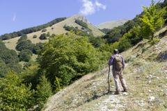 Randonneur sur la montagne Photo libre de droits
