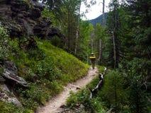 Randonneur sur Rocky Mountain Trail dans le Colorado, Rocky Mountains National Park photos stock