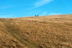 Randonneurs dans le plateau de Lessinia - Vénétie Italie Image libre de droits