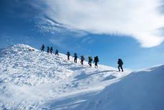 Randonneurs dans une montagne d'hiver, Ukraine, Karpaty Image stock