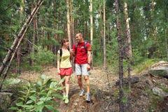 Randonneurs de couples dans la forêt Images stock