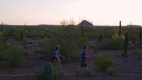 Randonneurs de désert au coucher du soleil banque de vidéos