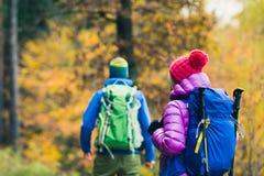Randonneurs heureux de couples d'homme et de femme marchant en bois d'automne images libres de droits