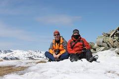Randonneurs sur le plateau de montagne de Parang Photos libres de droits