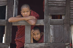 Rane pescarici buddisti in Myanmar (Birmania) Fotografia Stock Libera da Diritti