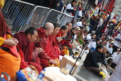 Rane pescarici tibetane sulla protesta fotografia stock