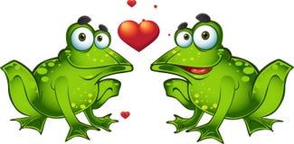 Rane verdi nell'amore Fotografia Stock