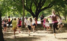 Ranek ćwiczy w central park Obrazy Royalty Free
