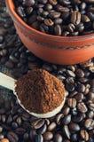 Ranek filiżanka kawy z czekoladą Obrazy Stock