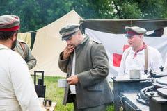 Ranek herbata przy armia niemiecka militarnym obozem Fotografia Stock
