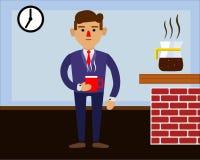 Ranek i śniadanie pracujący mężczyzna royalty ilustracja