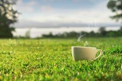 Ranek kawy espresso kawa w gazonie Zdjęcie Stock