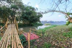 Ranek mgła i bambusa most przez Kok rzekę, Chiang Raja, północny Tajlandia zdjęcia royalty free