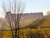 Ranek mgła na gospodarstwie rolnym Zdjęcia Stock