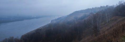 Ranek mgła nad miastem Fotografia Stock