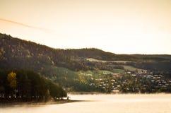 Ranek mgła w norweskim fjord i drewno krajobrazie Obrazy Stock