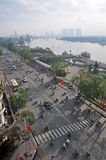 Ranek na tony Duc Thang Ho Chi Minh Ulicznym mieście Zdjęcia Royalty Free