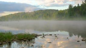 Ranek natura z odbijać chmurnieje na wodzie z mgłą zbiory wideo