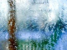 Ranek oszroniejący na okno należnym temperatury zamarzania outside Obraz Royalty Free