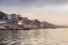 Ranek przy Ganga rzeką varanasi indu Obrazy Royalty Free