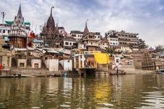 Ranek przy Ganga rzeką varanasi indu Zdjęcia Royalty Free