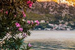Ranek scena stary miasteczko i morze obrazy royalty free