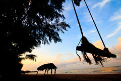 ranek seashore sylwetka Fotografia Royalty Free