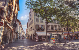 Ranek w Colmar, stary średniowieczny miasteczko w Alsace regionie w Francja Zdjęcia Royalty Free