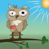 Ranek z zmęczoną sową ilustracja wektor