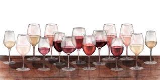 Rangée d'aquarelle des verres de vin rouge, blanc et rosé d'isolement sur le fond blanc Photos stock