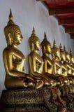 Rangée de Buddhas d'or Image stock