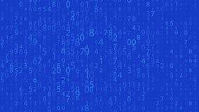 Rangée de Digital Nombres aléatoires 0 et 9 Vidéo dans un style de matrice Modèle de code binaire avec des chiffres sur l'écran,  illustration libre de droits