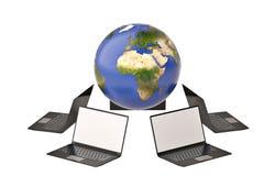 Rangée de la terre et d'ordinateur portable sur le fond blanc illustration 3D Photos libres de droits