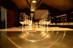 Rangée de verre de vin Photographie stock libre de droits