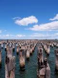 Rangée de vieux tronçons dans l'eau de mer de baie de Phillip de port au pilier de princes Image stock