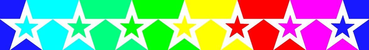 Rangée des étoiles multicolores dans des couleurs d'arc-en-ciel pour une chance illustration libre de droits