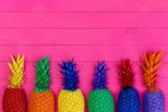Rangée des ananas peints colorés sur le rose vif images libres de droits