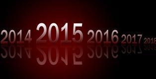 Rangée des années avec les réflexions 2015 Photos libres de droits