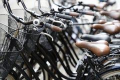 Rangée des bicyclettes sur la rue Image libre de droits